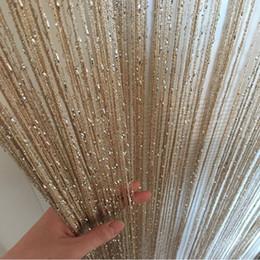 Schwarze hochzeitsdekoration online-Glänzende Quaste Silver Line-Schnur-Vorhang Mode Valance Wohnzimmer Divider Hochzeit DIY Schlafzimmer Home Decoration