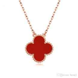 Wholesale Planting Red Clover - 925 Sterling Silver Necklace Women's Clover Necklace Agate Shell Korea Clavicle Necklace One Generation Anti-allergy