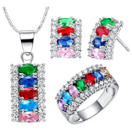 Wholesale Tungsten Bridal Ring Set - Fashion women decoration wedding 925 sterling silver multicolored crystal earrings necklace and ring jewelry set for bridal 2016