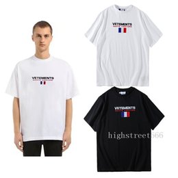 Wholesale French Letters - vetements new French flag Letters embroidery T-Shirts vtm 18SS Spring summer High street hip-hop TEE men and women High street hip-hop With