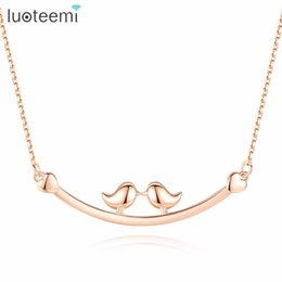 Wholesale bird pendant 925 - LUOTEEMI Necklace 925 Sterling Silver Two Birds In The Branches Pendant Cute Romantic Gift For Girl Friend Wife Mom Party Prom