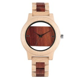 Wholesale Maple Watch - Unique Creative Hollow Two-color Design Wood Watch Men's Simple Stylish Quartz Maple Wooden Watch Bracelet Clasp Watchband New Fashion Clock