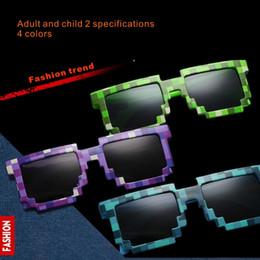 gafas de moda para adultos Rebajas Gafas de sol retro estilo mosaico para adultos y niños Cuadrados Gafas de sol unisex de pixel Gafas estilo mosaico Trendy Accesorios de fiesta 2 especificaciones 4 colores.