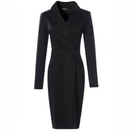 Wholesale Office Women Suit Sexy - Women Winter Autumn Dress Suits Bodycon Party Club Dresses 2017 Fall Sexy Vestidos Long Sleeve Belt Evening Black Work Office Dress Suit
