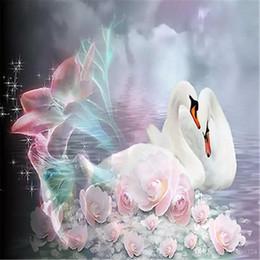 Cruzando 5D Diy Pintura Diamante Bordado Strass Pintura Decoração de Casamento Decoração de Casa O Lago dos Cisnes Branco Cisne Padrão Diy Kits de