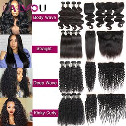Wholesale new curly - New Arrival Brazilian Tissage Body Wave Virgin Human Hair Weaves Lace Closure Frontal Bundles Deep Wave Kinky Curly 4 Bundles with Closure
