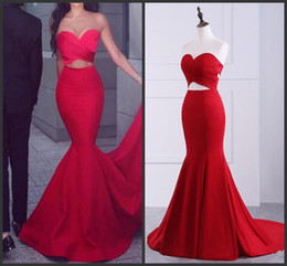 Wholesale Samples Evening Wear - 2018 New Sexy Red Satin Real Sample Mermaid Prom Dresses Strapless Buttons Floor Length Evening Party Dresses Event Wear Dress