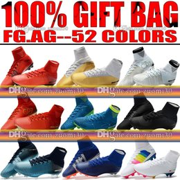 Wholesale Yellow Lace Up Boots - New 2018 Men Mercurial Superfly CR7 V FG AG Football Boots Cristiano Ronaldo High Tops Neymar JR ACC Soccer Shoes Magista Obra Soccer Cleats