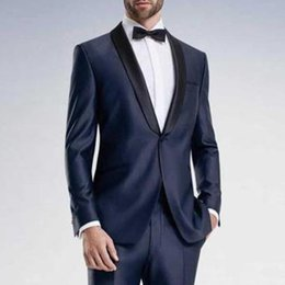 Wholesale Cotton Pants Men Back - Navy Blue Business Men Suits Groom Wear 2018 New Coat Black Shawl Lapel Two Piece Wedding Tuxedos Custom Made (Jacket + Pants)