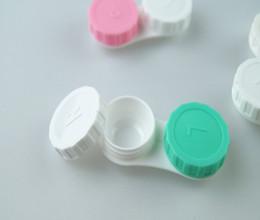 Dhl lentes de contato on-line-Popular Barato 5000 pcs (2500 pares) Caso Lente de Contato adorável Colorido Dual Box Duplo Caso Lens Embeber Caso DHL Frete grátis
