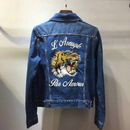 Wholesale Men S Jean Coat Jacket - best version embroid tiger letter autumn fashion designer luxury brand tag jean jacket for men denim jackets coat women clothing Outerwear