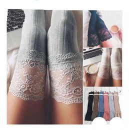 cable boots Promo Codes - Fashion women winter cable knit over keen long boot thigh-high warm socks leggings girls lace crochet knitted stockings