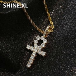 Wholesale cross necklace male - New Ankh Key Pendant Necklace Hip Hop Iced Out All Zircon Gold Color Cross Chains for Male & Women