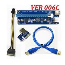 Extension de carte pci express en Ligne-Carte d'extension PCI-E PCI E Express 1X à 16X + câble de rallonge USB 3.0 avec bloc d'alimentation pour Bitcoin Litecoin Miner