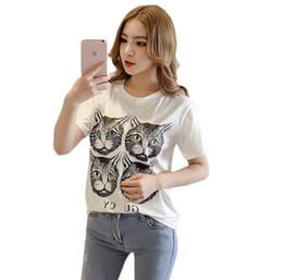2019 tops de impresión de gato Mujeres gato impresión camiseta verano nueva moda corte gato cuello redondo camiseta nueva moda casual Tops rebajas tops de impresión de gato