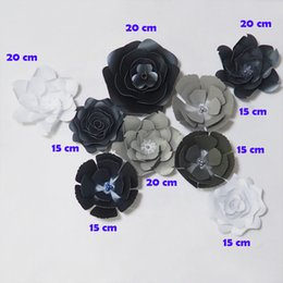 Flores artificiales de plata negro online-DIY Giant Paper Flowers Artificial Rose Fleurs Artificielles Telón de fondo 9 piezas Wedding Party Decor Nursery Mix Black White Silver