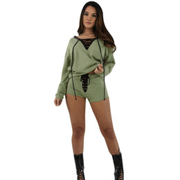 6142a203e04 long sleeve golf shirt xl UK - Summer Womens Sets Long Sleeve Shirt Bandage  Cropped Tops