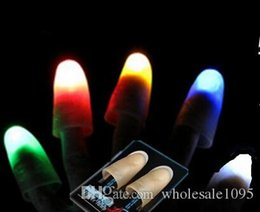 Wholesale Wholesale Magic Thumb Finger - Red Blue Green Creative Novelty Toys Trade Selling High Quality Light Dancing Thumb Lights Finger Light Stage Magic Props YH048