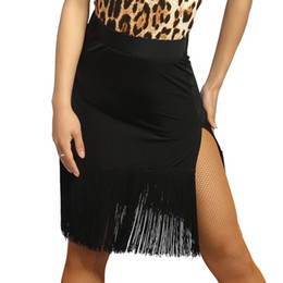 Wholesale Latin Sexy Ruffle Skirts - New Adult Girls Latin Dance Dress salsa tango Cha cha Ballroom Competition Practice Dance Skirt Black Sexy two-sided split tassel skirt