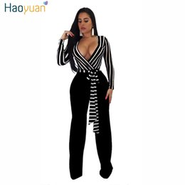 striped jumpsuits Promo Codes - HAOYUAN Sexy Deep-V Long Sleeve Jumpsuit Autumn Stripe Bandage Overalls Wide Leg Pants Casual Party Club Rompers Womens Jumpsuit