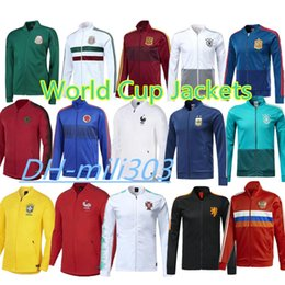 Wholesale russia soccer - 2018 world cup France Soccer jacket Survetement 1819 Mexico Belgium Argentina Portugal Netherlands Russia Germany football jacket sportswear