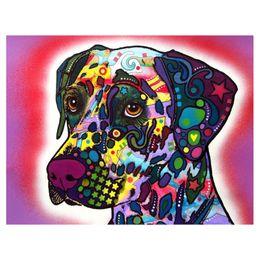 Wholesale painting canvas - 5D Diy Diamond Painting Color dog Diamond Painting handworkFull Rhinestones Diamond Painting Embroidery Decor Crafts