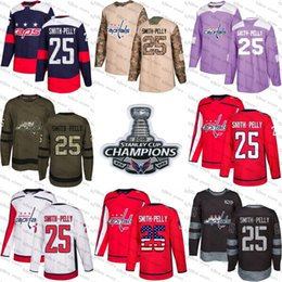 Wholesale usa hockey jersey xl - 2018 Stanley Cup Champions 25 devante smith-pelly washington capitals red USA Flag Purple Fights Cancer Practice Camo Veterans Day Jerseys
