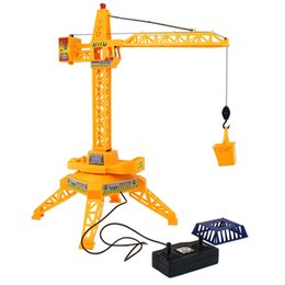 Wholesale Crane Electric - 62cm Crane Remote Control crane tower 6 Channel Simulation Tower 360 degree Rotate engineer construction Toys L2136