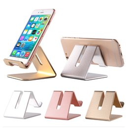 Wholesale Tablet Retail Stand - New Universal Aluminum Metal Mobile Phone Tablet Holder Desk Stand for iPhone 7 Plus Samsung s8 plus ZTE Max XL with Retail package OTH766