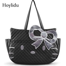 c76470b497e7 2019 Fashion Cute Hello Kitty PU Women Leather Handbags Female Black  Cartoon Shoulder Bag For Girls Casual Large Capacity Travel Tote Bag