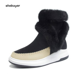 Wholesale Wedges Boots Open Toe - 2017 warm Fur Boots Winter Women Casual Short Boots fashion sneaker Woman Snow Round Toe Wedges Hidden Heels luxury Bottes