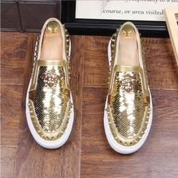 Wholesale trendy casual prom dress - 2018 Fashion Designer Men Trendsetter glitter sequins rivet Trendy Casual thick bottom Shoes Male walking Dress Prom moccasins loafers G365