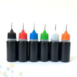 Botellas de aguja de ejuice online-Botella de aguja líquida negra E 10ml 30ml Aceite de Ecig PE plástica Ejuice Dropper con el llenador de la aguja del metal del agujero de alfiler Tapas coloridas DHL libera