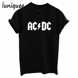 Wholesale White Dc Shirts - AC DC Band Rock T-Shirt Women's ACDC BLACK Letter Printed Graphic Tshirts Hip Hop Rap Music Short Sleeve Tops Tee Shirt