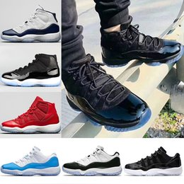 Wholesale Prom Shoes Size 11 - 2018 New Prom Night Mens 11 11s Basketball Shoes Iridescent UNC Gym Red Space Jam 45 Black Out Concord Sports Sneakers Size 36-47
