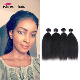 Wholesale Indian Yaki Remy Hair - Wholesale 10A Kinky Straight Human Hair Weave Bundles 100% Remy Hair Brazilian Weave Bundles Yaki Straight Hair Weave 4Pcs Lot Free Shipping