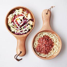 Ciotola di insalata di frutta in legno massello di stile cinese grande Manico lungo Utensili da cucina sottaceti ciotole Isolamento Piatto infrangibile portatile da