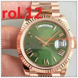 Wholesale Auto Sweep - New President Mens Watch Sweep Automatic Movement Mechanical Day-Date Rose Gold Stainess Steel Sapphire Glass Original Clasp Men Watches