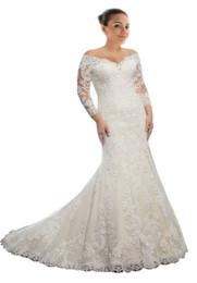 2018 modesto fuera del hombro vestido de boda más tamaño sirena ilusión manga larga de encaje apliques corsé nuevo diseñador vestidos de boda baratos desde fabricantes