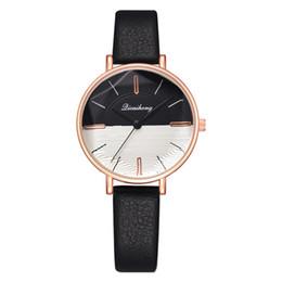 Wholesale Fashion Top Unisex Dual Color Round Dial No Numbers Quartz Analog Wrist Watch Couple Gifts zegarki damskie