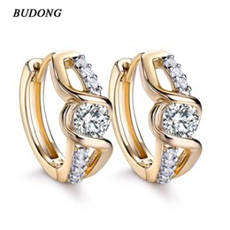 Wholesale Earring Infinity - whole saleBUDONG Fashion Silver Gold Color Twisted Infinity Earrings Round Crystal CZ Hoop Earrings for Women Wedding Jewelry XUE170