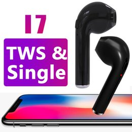 Wholesale Earpiece For Blackberry - i7 Single TWS Wireless Bluetooth Earphones For iphone X Twins Invisible Earbuds V4.2 Stereo Music Headset Phone Earpiece With Retail Package