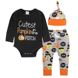 Wholesale pumpkin tutu - INS Halloween Letter Printed Long Sleeve Romper+Long Pant+Hats Three Pieces Baby Boys Girls Pumpkin Outfits Jumpsuit Sets B11