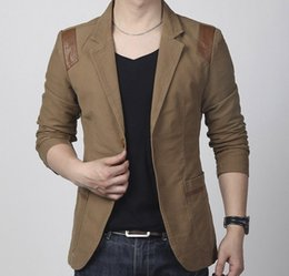 Wholesale khaki leather sleeve jacket - Hot! New Fashion Spring and autumn men's clothing Casual Slim Fit Blazer Leather Patchwork Plus Size Suits Jacket Men Outwear