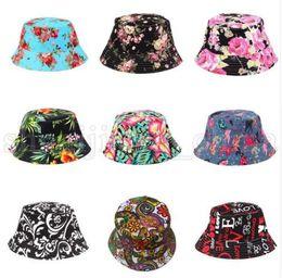 estampado de pesca Rebajas Sombrero del cubo de las mujeres Sombrero Estampado de flores de verano Colorido Sombrero plano Boonie Bush Casquillo al aire libre Sombrero para el sol KKA5510