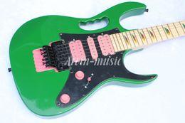 Arvinmusic High Quality JEM 7V guitarra eléctrica verde, diapasón de arce, pastillas de color rosa, envío gratis desde fabricantes