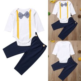Clothing Sets Ingenious 2pcs Infant Baby Boys Gentleman Clothes Long Sleeve White Shirt Tops+bib Pants Outfit Fashion Casual Set Soft And Light