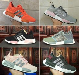 Wholesale Green Sequin Shoes - NMD R1 Primeknit Tri color Pink Black Triple OG Running Mens Shoes Nmds Runner Primeknit Sneakers Originals Classic Casual Shoes Sequins