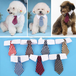 2019 vêtements chihuahua pour hommes Chien de compagnie chat rayé arcs cravate cou bandeau bébé impression chien vêtements vêtements couleur WX-G13