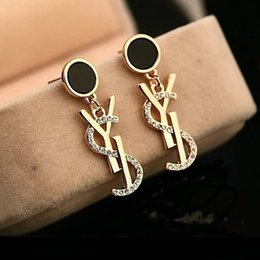Wholesale Gold Plated Letters - Luxury Brand Designer Stud Earrings Letters Ear Stud Earring Gold Silver Jewelry Accessories Gift for Women Girls Free Shipping